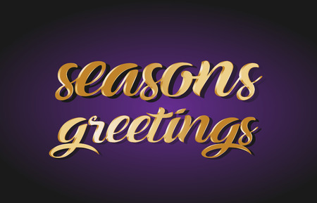 Seasons greetings hand written text gold golden writing calligraphy calligraphic yellow purple letters background logo postcard banner concept creative icon design template modern