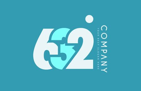 cyan business: Number 632 blue white cyan logo vector creative company icon design template background dot