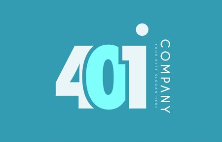 cyan business: Number 401 blue white cyan logo vector creative company icon design template background dot
