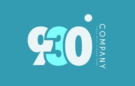 numeric: Number 930 blue white cyan logo vector creative company icon design template background dot Illustration