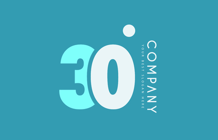 Number 30 blue white cyan logo vector creative company icon design template background dot Illustration