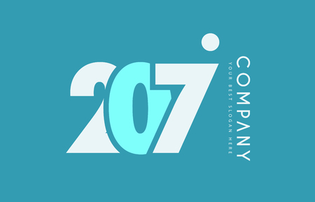 numeric: Number 207 blue white cyan logo vector creative company icon design template background dot