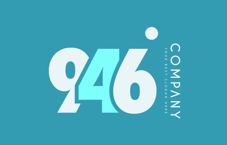 numeric: Number 946 blue white cyan logo vector creative company icon design template background dot Illustration