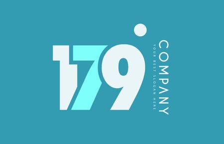 numeric: Number 179 blue white cyan logo vector creative company icon design template background dot