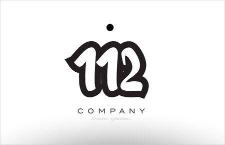 numeric: 112 number black white bold logo vector creative company icon design template hand written background