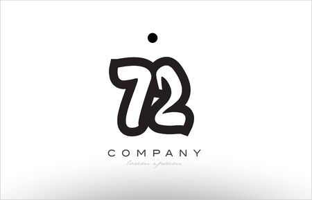 numeric: 72 number black white bold logo creative company icon design template hand written
