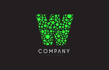 Letter W green bubble circle dot alphabet letter bold logo vector creative company icon design template modern background