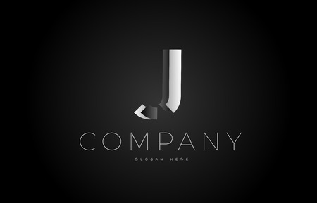 J letter alphabet black white grey silver logo vector creative company icon design 3d template modern background