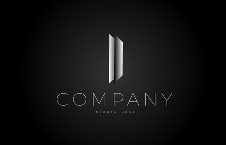 I letter alphabet black white grey silver logo vector creative company icon design 3d template modern background Illustration