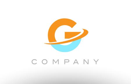 G orange blue color letter alphabet logo vector creative company icon design template modern swoosh Illustration