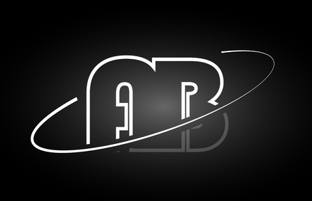 AB A B letter logo combination black white alphabet Illustration