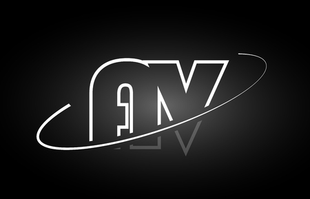 AV A V letter logo combination black white alphabet Illustration