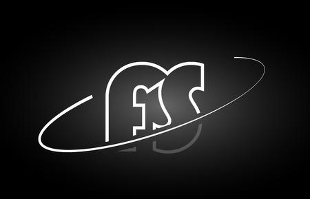 FS F S letter logo combination black white alphabet