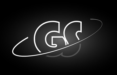 GS G S letter logo combination black white alphabet