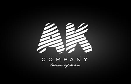 AK A K letter logo combination black white alphabet vector creative company icon design template modern