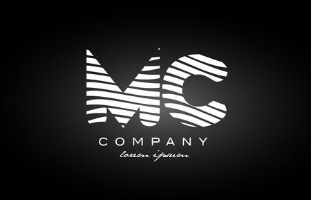 MC M C letter logo combination black white alphabet Illustration