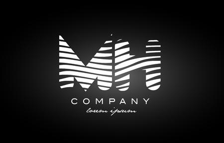 MH M H letter logo combination black white alphabet