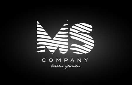 MS M S letter logo combination black white alphabet vector creative company icon design template modern 向量圖像