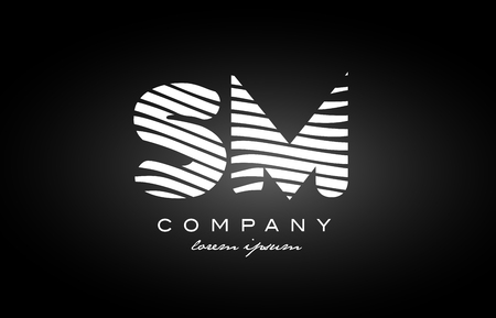SM S M letter logo combination black white alphabet