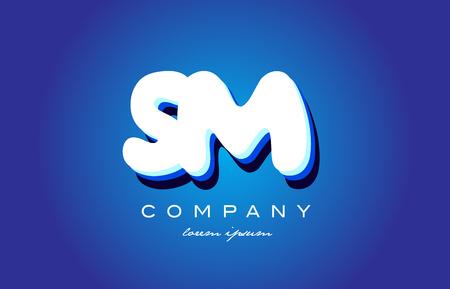 SM S M letter logo combination alphabet Ilustrace