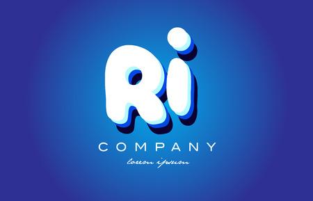 RI R I letter logo combination alphabet Illustration