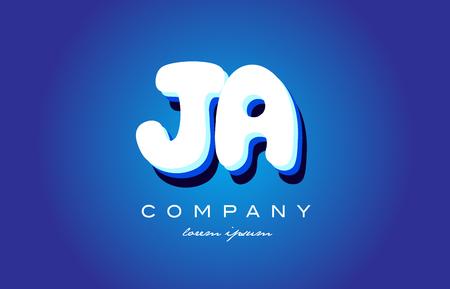 JA J A letter logo combination alphabet Illustration