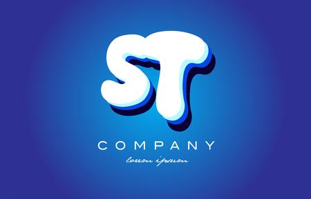 ST S T letter logo combination alphabet Illustration