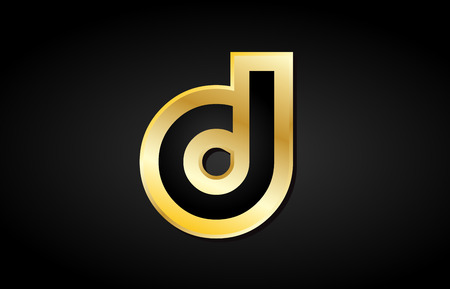D gold alphabet golden metal metallic black background letter