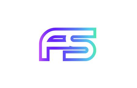 FS F S letter logo combination alphabet v Ilustração