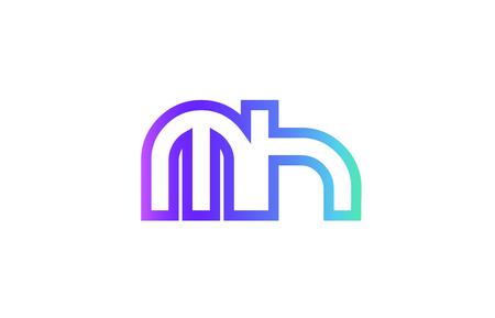 MH M H letter logo combination alphabet