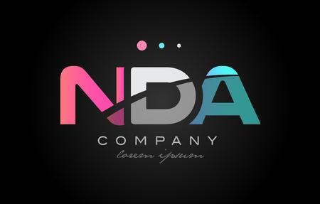NDA Nda Tres 3 Letras Logotipo Combinación Alfabeto Vector Empresa ...