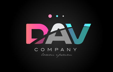 DAV d a v three 3 letter logo combination alphabet vector creative company icon design template modern  pink blue white grey Ilustrace