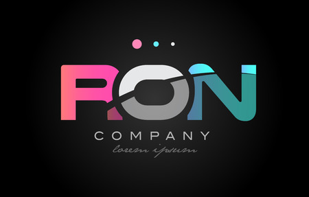 RON r o n three 3 letter logo combination alphabet vector creative company icon design template modern  pink blue white grey