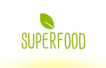 superfood green leaf text concept logo vector Illustration