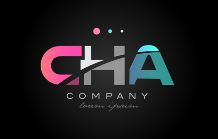 CHA c h a three 3 letter logo combination alphabet vector creative company icon design template modern  pink blue white grey