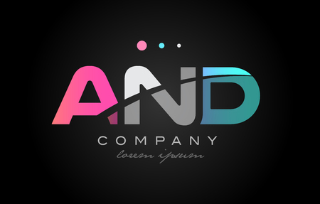 AND a n d three 3 letter logo combination alphabet vector creative company icon design template modern  pink blue white grey Illustration
