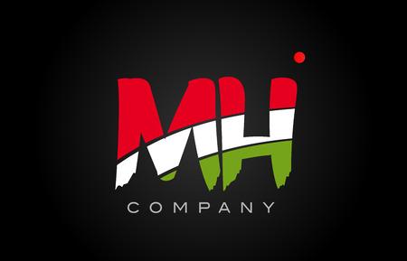 MH M H letter logo combination alphabet vector creative company icon design template modern Illustration