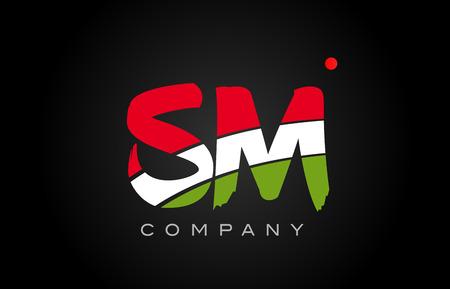 SM S M letter logo combination alphabet vector creative company icon design template modern