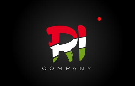 RI R I letter logo combination alphabet vector creative company icon design template modern