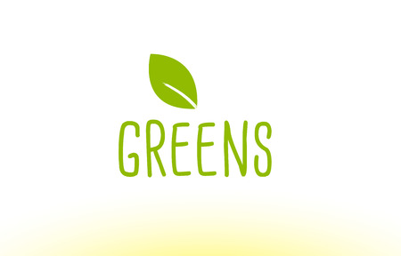 Greens green leaf text concept logo vector creative company icon design template modern background hand written hand writing