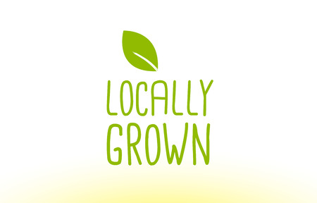 locally grown green leaf text concept logo vector creative company icon design template modern background hand written hand writing