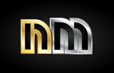 NM N M gold golden silver alphabet letter metal metallic grey black white background combination join joined together logo vector creative company identity icon design template modern Illustration