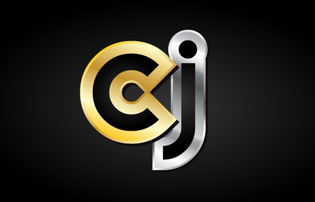 CJ C J gold golden silver alphabet letter metal metallic grey black white background combination join joined together logo vector creative company identity icon design template modern