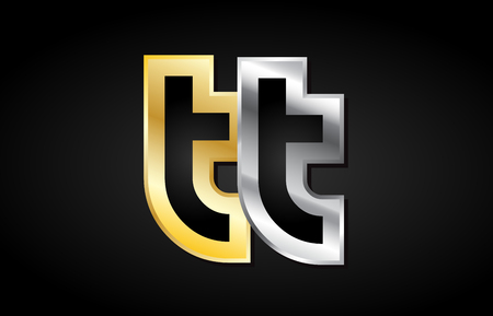 TT T T gold golden silver alphabet letter metal metallic grey black white background combination join joined together logo vector creative company identity icon design template modern