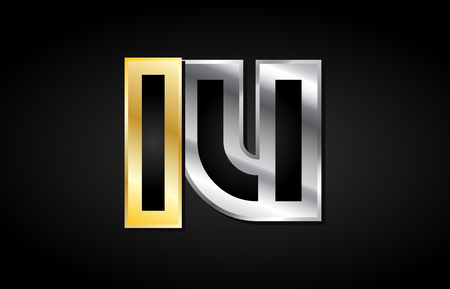 Lu L U Gold Golden Silver Alphabet Letter Metal Metallic Grey
