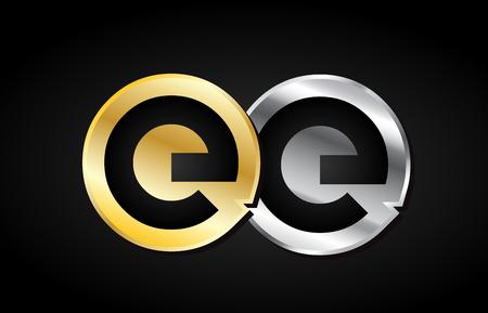EE EE or or argent alphabet lettre métal gris métallique noir fond blanc combinaison joindre joint logo vecteur entreprise créative identité icône design modèle moderne