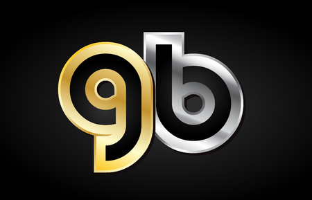 GB G B gold golden silver alphabet letter metal metallic grey black white background combination join joined together logo vector creative company identity icon design template modern Illustration