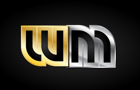 WM W M gold golden silver alphabet letter metal metallic grey black white background combination join joined together logo vector creative company identity icon design template modern