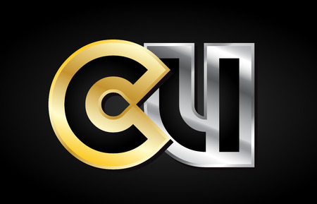 cu: CU C U gold golden silver alphabet letter metal metallic grey black white background combination join joined together logo vector creative company identity icon design template modern
