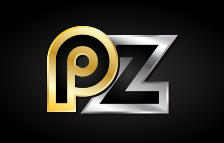 PZ P Z gold golden silver alphabet letter metal metallic grey black white background combination join joined together logo vector creative company identity icon design template modern Ilustração